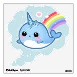 Narwhals de Kawaii con el arco iris