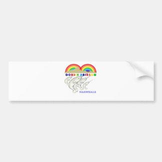 narwhals dobles del arco iris etiqueta de parachoque