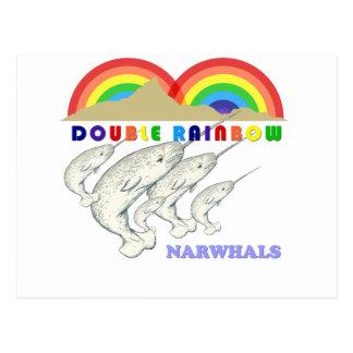 narwhals dobles del arco iris tarjetas postales