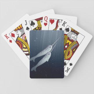 Narwhals lindo que nada junto bajo el agua cartas de juego