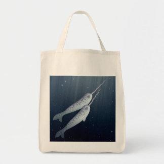 Narwhals lindo que nada junto bajo el agua bolsa tela para la compra