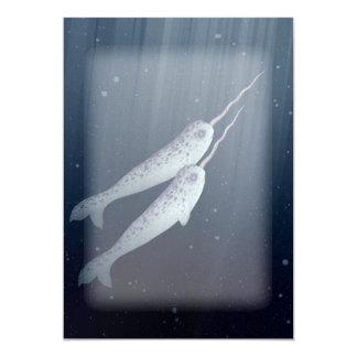 """Narwhals lindo que nada junto bajo el agua invitación 5"""" x 7"""""""