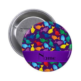 Narwhals púrpuras conocidos personalizados del pin redondo de 2 pulgadas