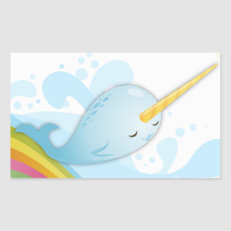 Narwhals Swim on Rainbows Rectangular Sticker