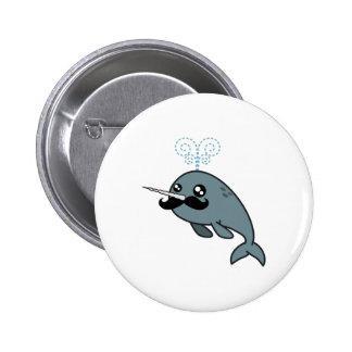 Narwhalstache Pinback Button