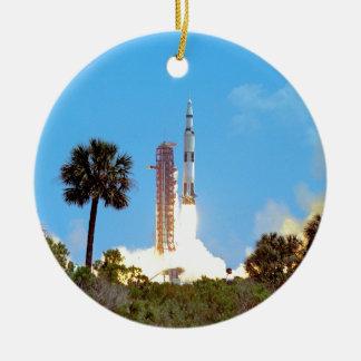 NASA Apollo 16 Saturn V Rocket Launch Ceramic Ornament