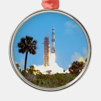 NASA Apollo 16 Saturn V Rocket Launch Metal Ornament