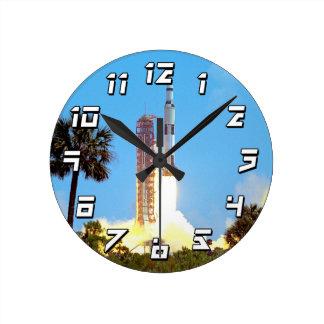 NASA Apollo 16 Saturn V Rocket Launch Round Clock