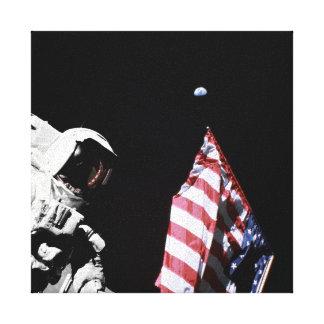 NASA Apollo 17 Astronaut Flag Earth Moon Photo Canvas Print
