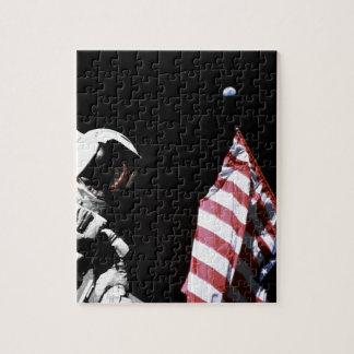 NASA Apollo 17 Astronaut Flag Earth Moon Photo Jigsaw Puzzle