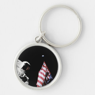 NASA Apollo 17 Astronaut Flag Earth Moon Photo Keychain