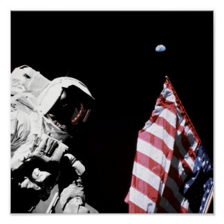 NASA Apollo 17 Astronaut Flag Earth Moon Photo Poster