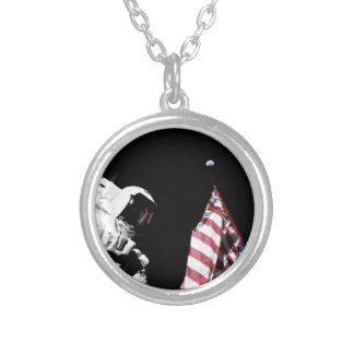 NASA Apollo 17 Astronaut Flag Earth Moon Photo Silver Plated Necklace