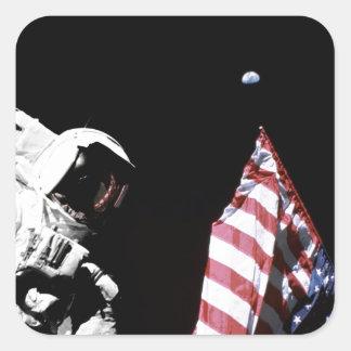 NASA Apollo 17 Astronaut Flag Earth Moon Photo Square Sticker