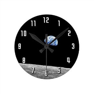NASA Apollo 8 Earthrise Moon Lunar Orbit Photo Round Clock