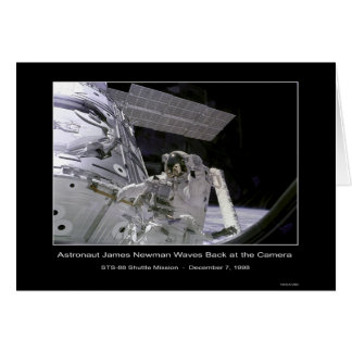 NASA Astronaut Newman Waves Back at the Camera Out Card