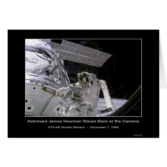 NASA Astronaut Newman Waves Back at the Camera Out Card