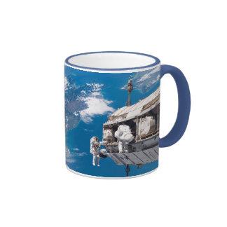 NASA Astronauts in Orbit Space Ship Ringer Coffee Mug