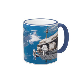 NASA Astronauts in Orbit Space Ship Ringer Coffee Mug