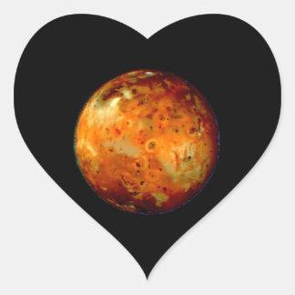 NASA del espacio del Io de la luna de Júpiter Calcomanías Corazones