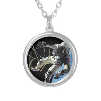 NASA First American Astronaut Spacewalk Photo Silver Plated Necklace