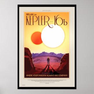 NASA Future Travel Poster - Relax on Kepler 16b
