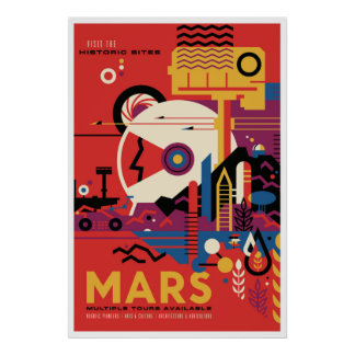 NASA Future Travel Poster Visit Mars Space