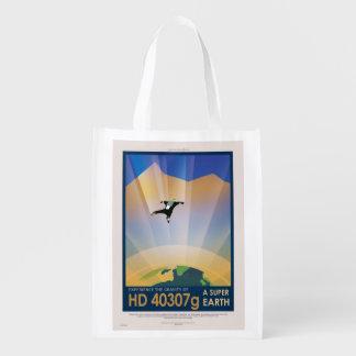 NASA Future Travel Sci Fi Poster - Super Earth Reusable Grocery Bag