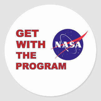 NASA Get With The Program Round Stickers
