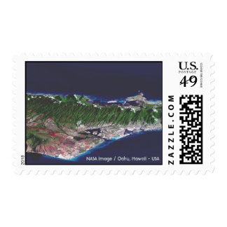 NASA image - PIA02727 / Oahu, Hawaii - USA Stamp