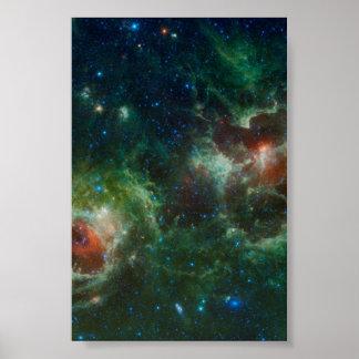 NASA infrarroja del mosaico de las nebulosas del c Póster