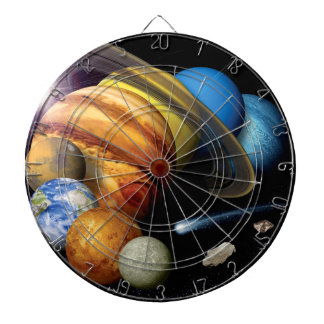 NASA JPL Solar System Planets Montage Space Photos Dartboard With Darts