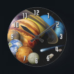 "NASA JPL Solar System Planets Montage Space Photos Round Clock<br><div class=""desc"">Artist&#39;s conception of a solar-system montage of the eight planets,  the sun,  a comet and an asteroid.</div>"