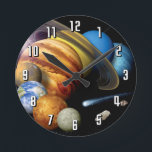 """NASA JPL Solar System Planets Montage Space Photos Round Clock<br><div class=""""desc"""">Artist&#39;s conception of a solar-system montage of the eight planets,  the sun,  a comet and an asteroid.</div>"""