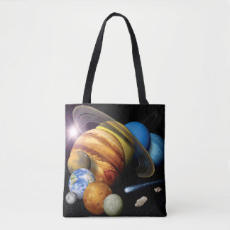 NASA JPL Solar System Planets Montage Space Photos Tote Bag