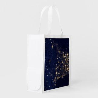 Nasa Lights from Space USA Grocery Bag