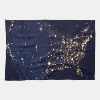 Nasa Lights from Space USA Kitchen Towel