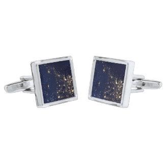 Nasa Lights from Space USA Silver Cufflinks