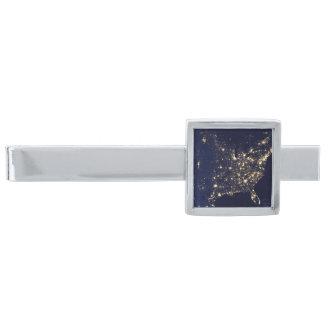 Nasa Lights from Space USA Silver Finish Tie Clip