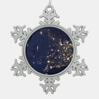 Nasa Lights from Space USA Snowflake Pewter Christmas Ornament