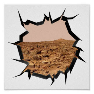 NASA Mars Landscape Twin Peaks 3D Broken Wall View Poster