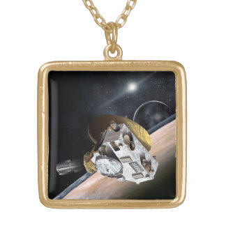 NASA New Horizons Artist Rendition Gold Plated Necklace