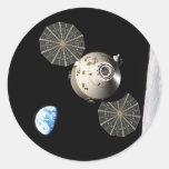 NASA Orión en órbita lunar Pegatina Redonda