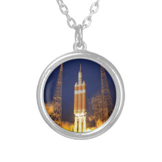 NASA Orion Spacecraft Rocket Launch Silver Plated Necklace