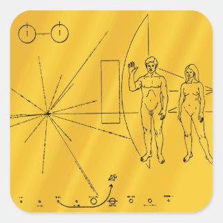 NASA Pioneer 10 Space Probe Gold Plaque Square Sticker