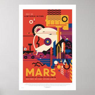 NASA - Poster retro del viaje del viaje de Marte