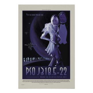 NASA Retro ExoPlanet PSO J318.5-22 Travel Poster
