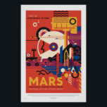 "NASA - Retro Mars Tour Travel Poster<br><div class=""desc"">Mars Tour image is a continuation of the JPL's Exoplanet Travel Bureau Series.  It blends rockets,  planes,  agriculture,  and a rover into a scene of imagined human presence.  Credit NASA/JPL Caltech.</div>"