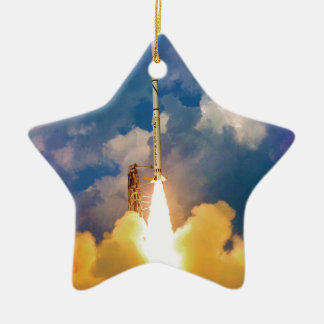NASA Scout Rocket Launch Liftoff Ceramic Ornament