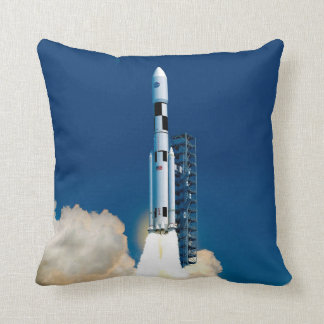 NASA SLS Space Launch System Rocket Liftoff Throw Pillow